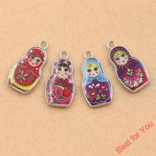 4pcs Tibetan Silver Tone Retro Style Enamel Russia Toys Charms Pendants Fashion Jewelry Diy Jewelry Findings(China)