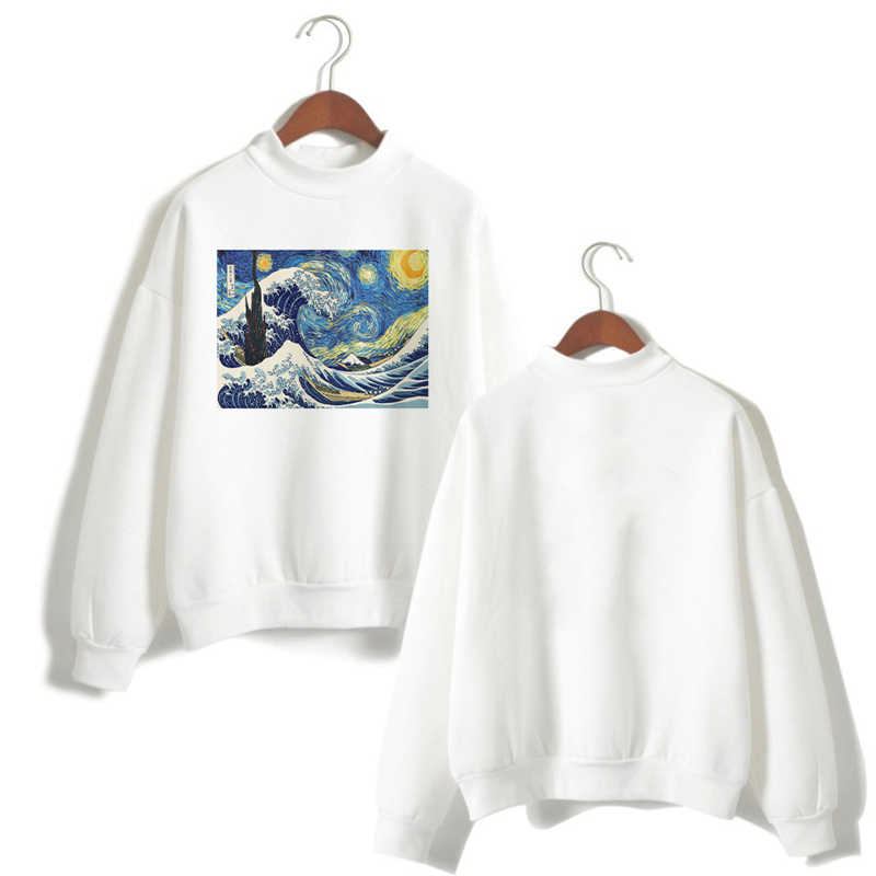 Harajuku Van Gogh Ukiyoe Kunst Öl Druck Langarm Shirt Hoodies Frauen Weiß Sweatshirt Top Damen Vogue Kpop Streetwear Kleidung