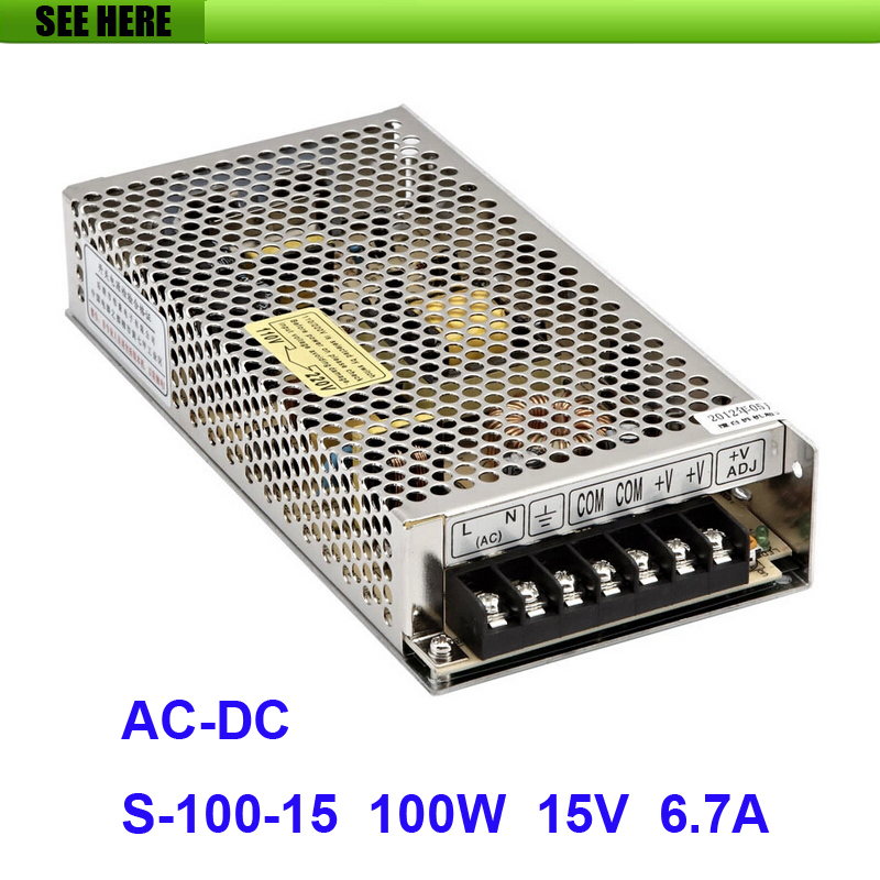 Free Shipping Universal 15V 6.7A 100W Switch Power Supply Driver Switching For LED Strip Light Display 110V 220V S-100-15 12v 3 2a 40w switch power supply driver for led light strip 110v 220v