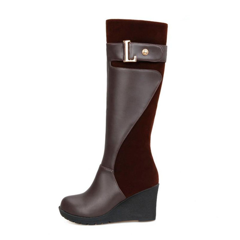 Cuñas Oficina Metal Rodilla Las Tamaño Invierno Velvet Hebilla Fur brown Fur Zapatos De black Fur Señoras 30 Botas Plus Velvet 52 Mujeres brown Aicciaizzi La red Black Patchwork Alta Velvet red Uwz0ZO