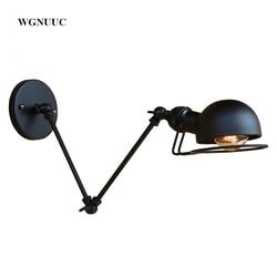 New Vintage industrial style loft creative minimalist <font><b>long</b></font> arm wall lamp adjustable Handle Metal Rustic <font><b>Light</b></font> Sconce Fixtures