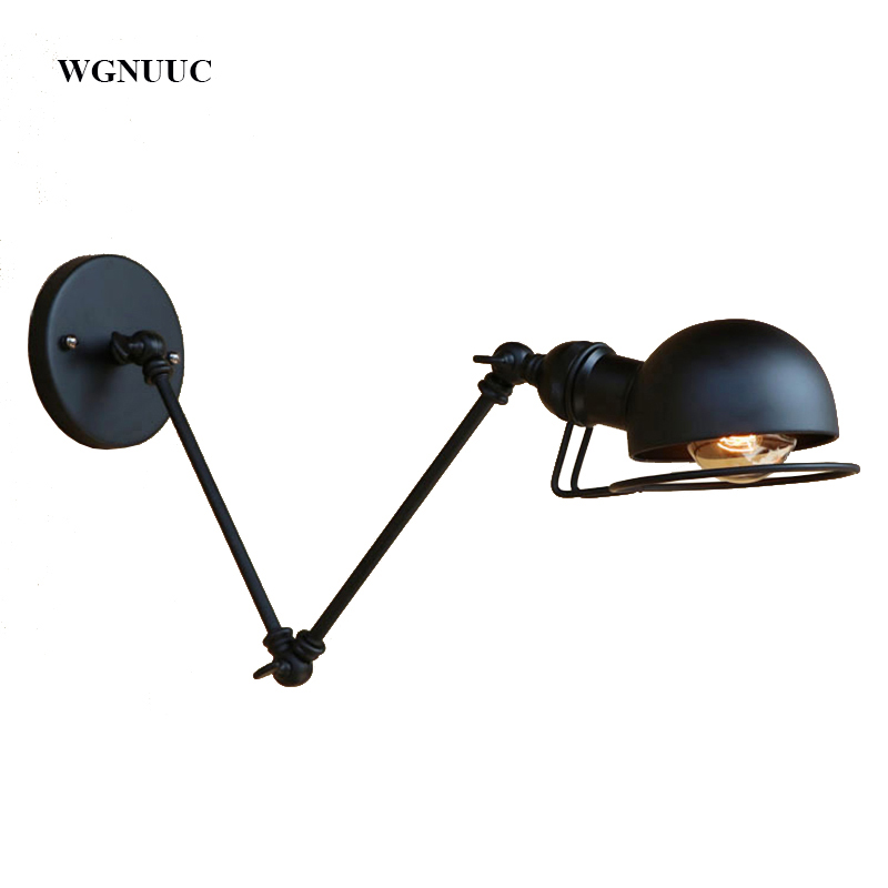 купить New Vintage industrial style loft creative minimalist long arm wall lamp adjustable Handle Metal Rustic Light Sconce Fixtures по цене 1595.04 рублей