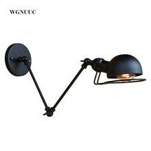 Nuevo Vintage estilo industrial loft creativo minimalista lámpara de pared con brazo largo ajustable de la manija de Metal rústico luz lámpara Accesorios