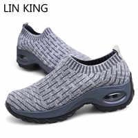 LIN KING grande taille chaussures vulcanisées femme Sneakers plate-forme formateurs femmes chaussures décontracté chaussures de marche en plein air hauteur augmentant