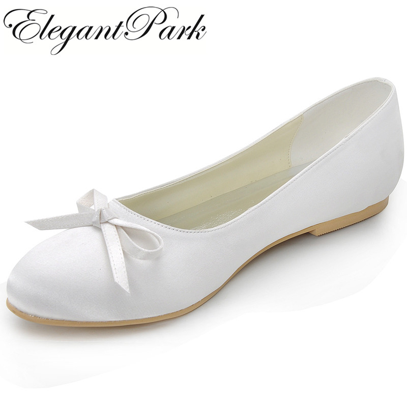 Woman Flats EP2135 White Ivory Round Toe Bow Comfort Satin Birde Woman Lady Bridal Wedding Ballet