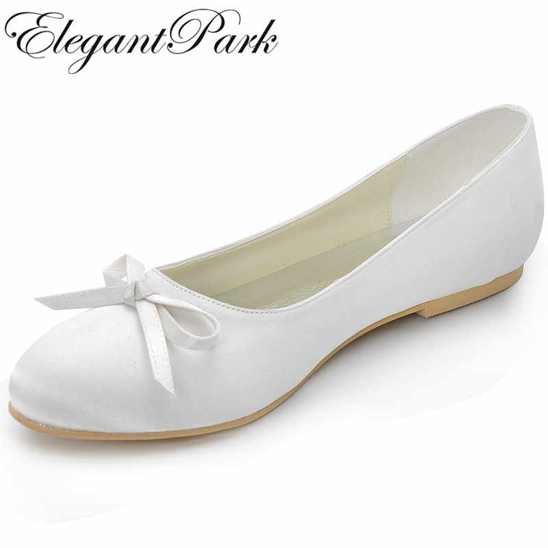 3c29b8de728 Mujer pisos EP2135 marfil blanco redondo dedo del pie lazo comodidad de  Birde mujer nupcial de
