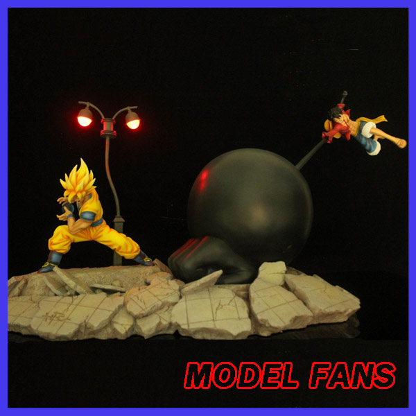 MODEL FANS HFC Dragon Ball Z 45cm super saiyan goku vs Monkey D. Luffy gk resin action figure toy for Collection model fans in stock dragon ball z 35cm super saiyangoku and time house gk resin statue figure for collection