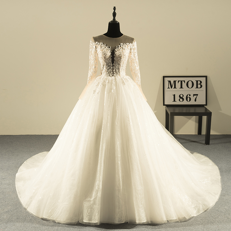 Shop Wedding Gowns: New Design Ball Gown Lace Wedding Dresses 2019 Luxury V