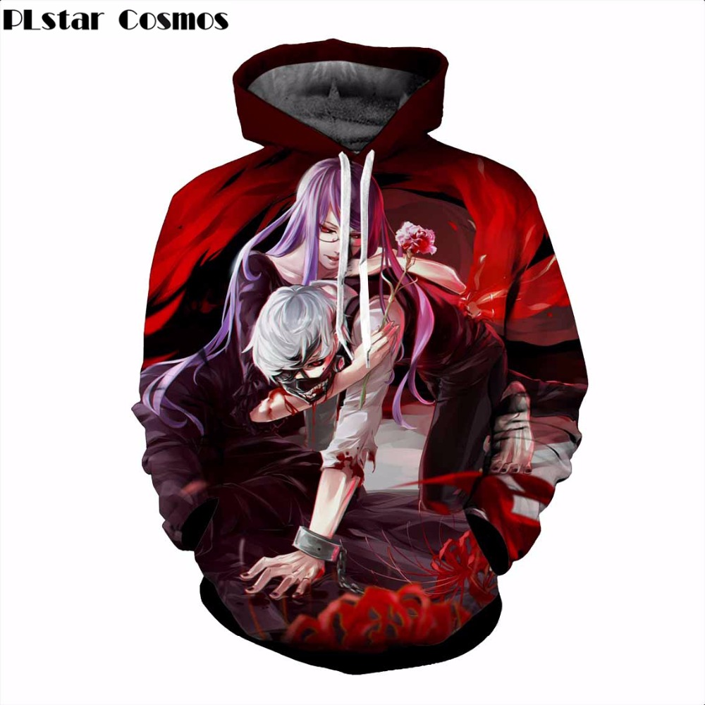 Free shipping 2018 Newest Men Women Hoodies Outerwear Anime Tokyo Ghoul Pocket Hooded Sweatshirts Fashion Hip hop 3D Hoodies
