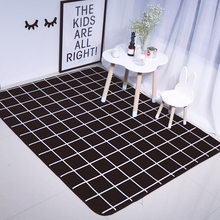 Modern plaid doormat for bedroom,multi-size black crawling mat for kids,polyester anti-slip bath mat for home,soft carpet rugs