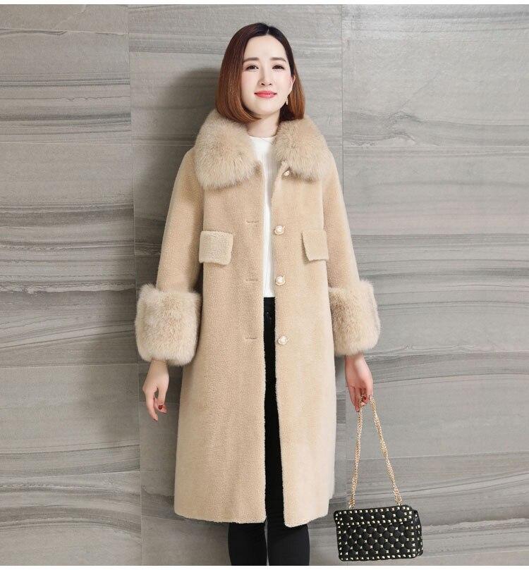 women natural sheep fur coat with real fox fur collar (15)