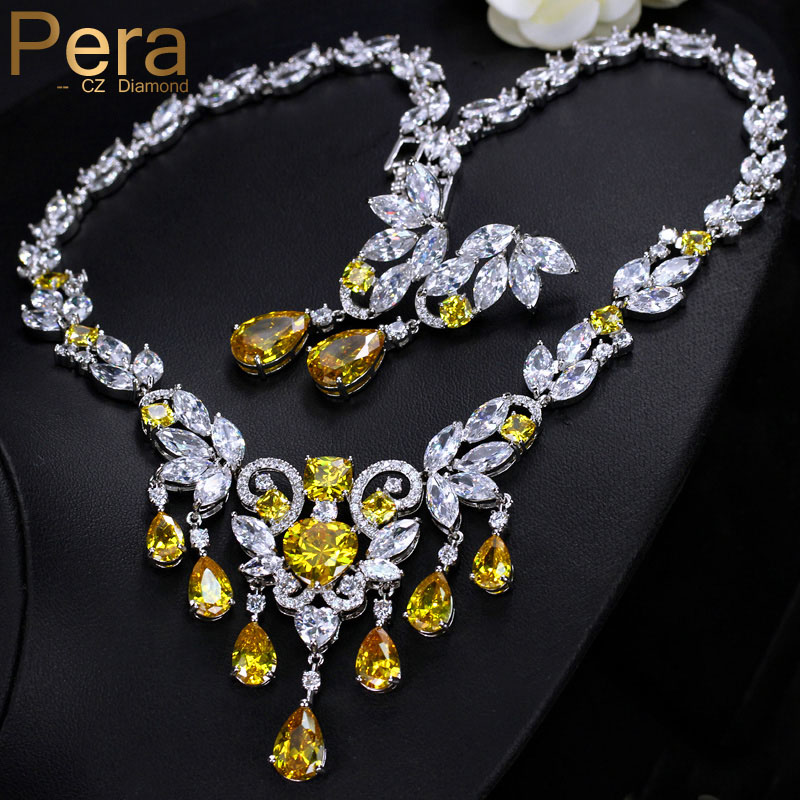 Pera Luxury African Women Wedding Jewelry Gift Yellow Cubic Zirconia Pave Big Tessal Drop Pendant Necklace And Earrings Set J245 chic rhinestone african plate shape pendant necklace and earrings for women