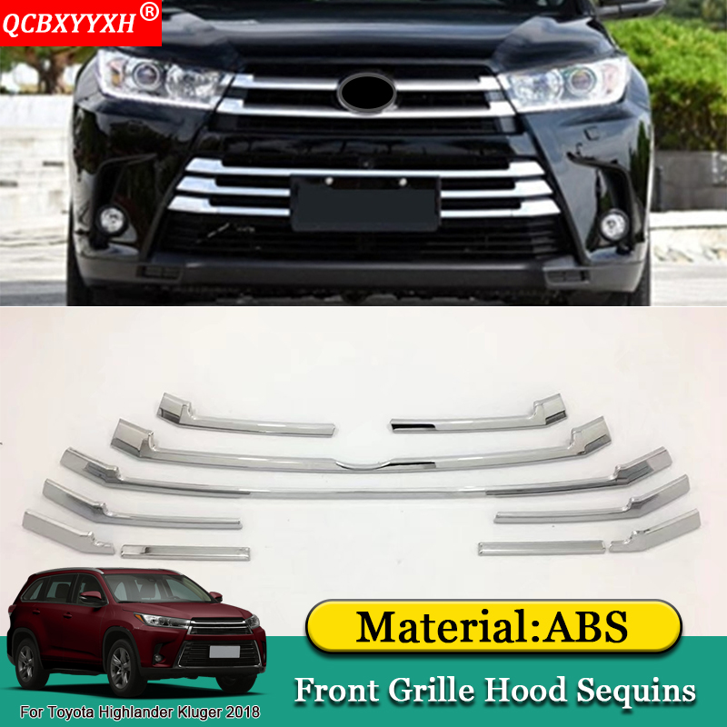 QCBXYYXH Car Styling ABS Front Grille Hood Engine Cover Trim External Sequins Accessories For Toyota Highlander Kluger 2015-2018