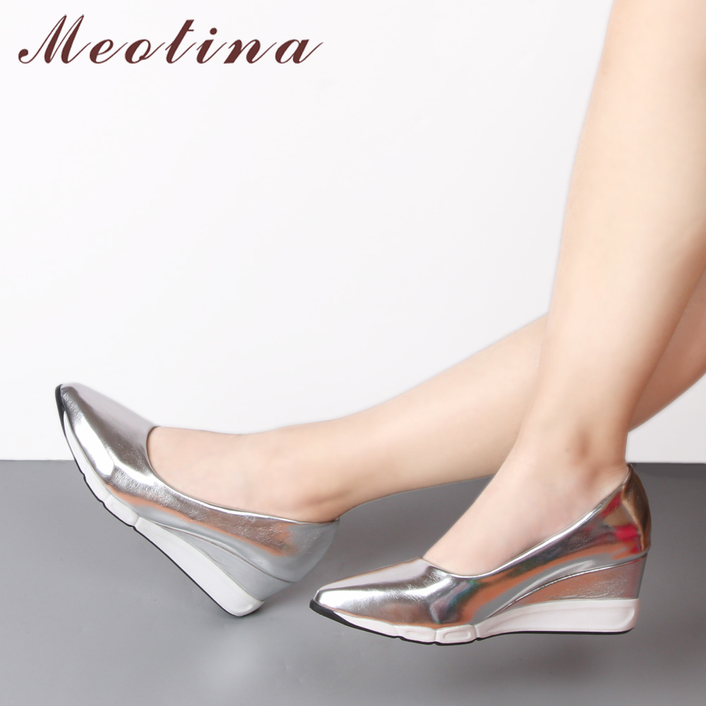 Meotina Shoes Women Platform Wedges Fashion High Heel Shoes Basic Wedge Heels Pointed Toe Lady Shoes Sliver Pink Gold Size 34-39 meotina shoes women wedge heels ladies shoes pointed toe lady pumps autumn female work shoes wedges green apricot big size 42 43