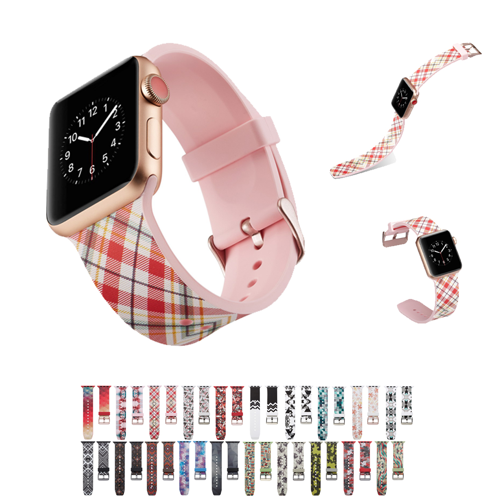 Natural silicone strap for apple watch band 44mm/40mm/42mm/38mm printing rubber watchband for iwatch 4/3/2/1 bracelet wrist belt цена