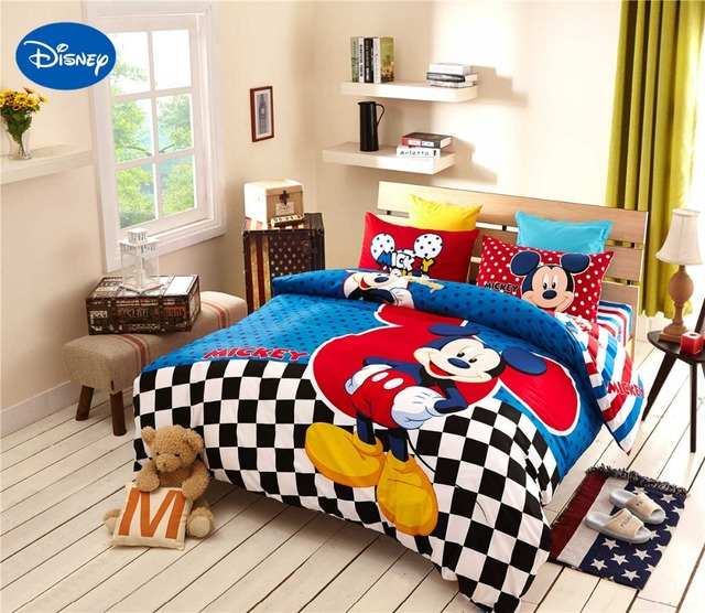 incredible Mickey Mouse Bedding Set Queen Size Part - 4: Mickey Mouse Bedding 100%Cotton Cartoon Disney Print Bed Duvet Cover Boys  Home Decor Single