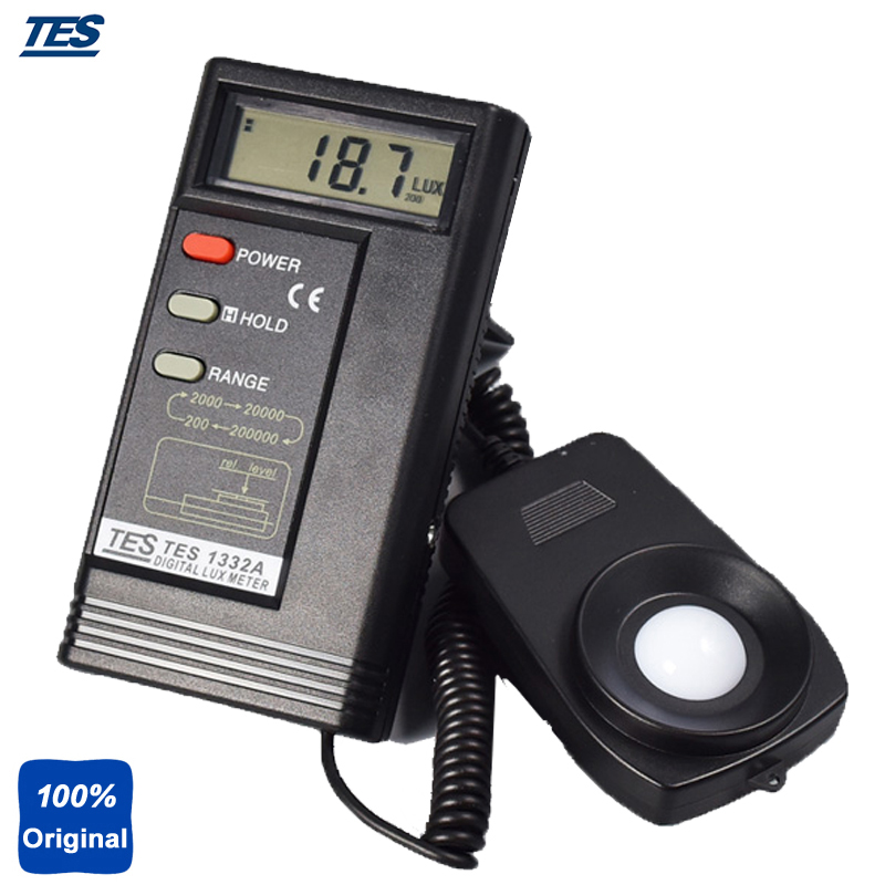 TES1332A Digital Lux Meter Light Illuminometer 0.01~200000 Lux Illuminance brand new professional digital lux meter digital light meter lx1010b 100000 lux original retail package free shipping