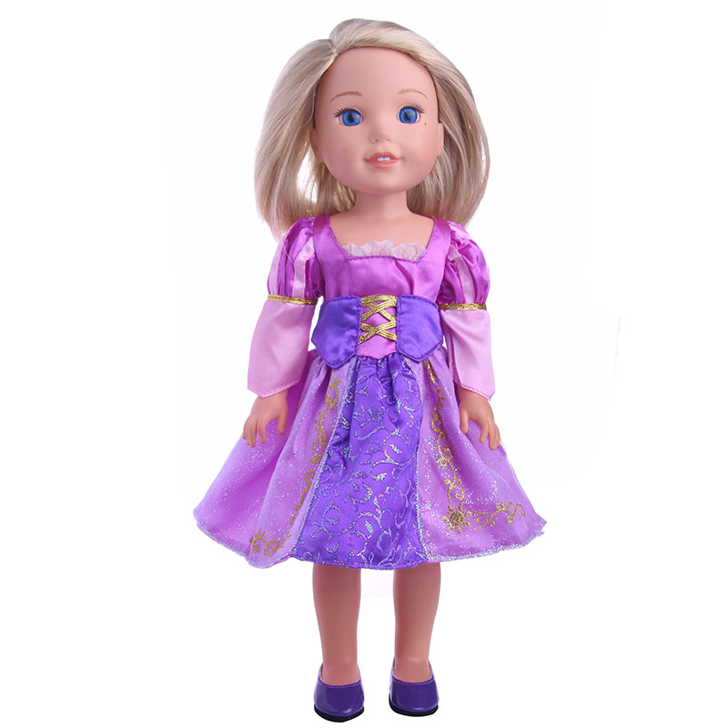 Fashion Purple Princess Skirt Doll Clothes of 14 Inch Doll American Girl Wellie Wishers Dolls Best Gift (Color: Purple)