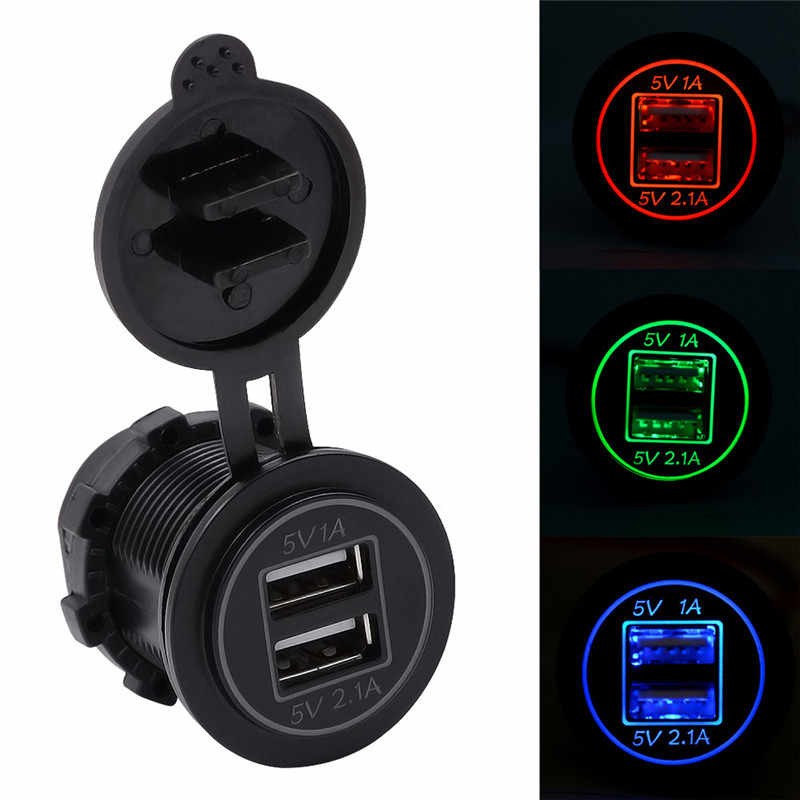 Kongyide Autolader CS-544 5V 3.1A Dual USB Charger Socket Adapter Outlet voor 12V 24V Motorfiets auto mar6