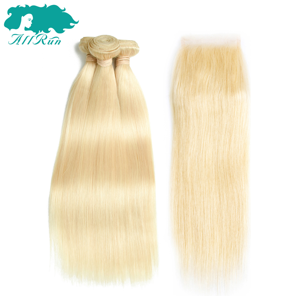 Allrun Pre-Colored Brazilian Straight Hair 3 Bundles #613 Blonde With 4*4 Lace Closure 100% Honey Non Remy Human Hair Extensions