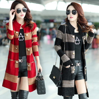 Every day special new wave of large size women loose Korean wild female cardigan sweater coat sweater and long sections