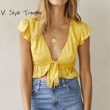 f20084328c Bohemia Front Tie Blouse Women Crop Top Casual Boho Sexy Croppped Tee Cotton  Gypsi IG Beach Resort Yellow Flounce Ruffles Shirt