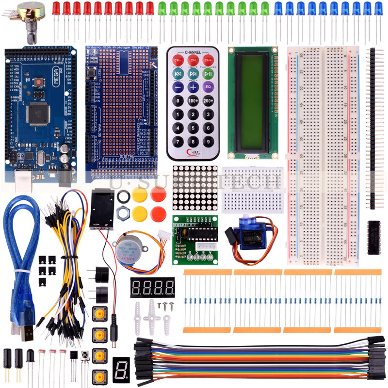 Starter Kit For Arduino UNO R3 Upgraded Version Learning Basic Suite For Uno R3 Board Stepper Motor 1602 LCD DIY Project цены онлайн