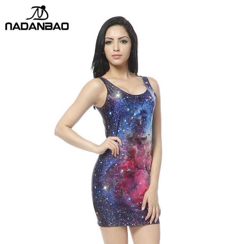 NADANBAO bandage dresses Blue Galaxy Dresses Print Mini Bodys