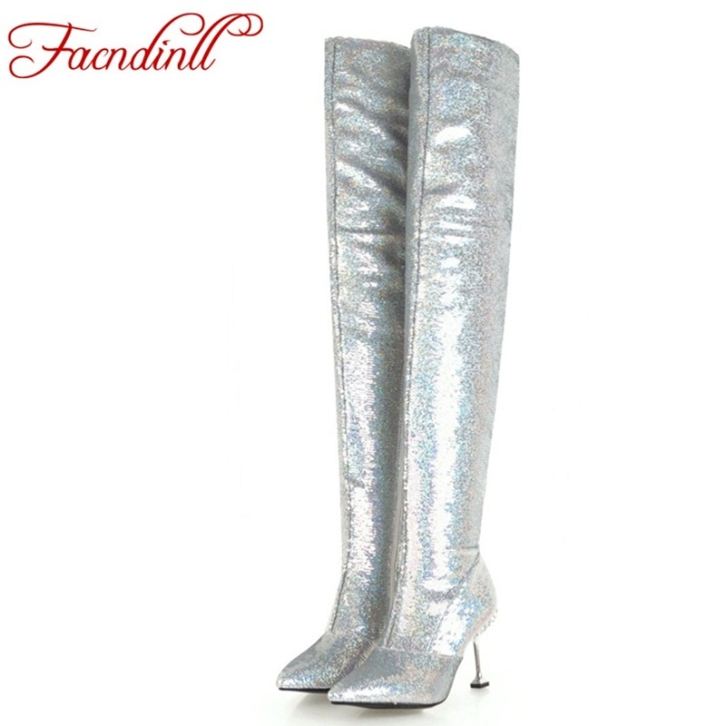 brand shoes bling sequined cloth black shoes woman over the knee high boots sexy pointed toe high heel autumn winter boots women morazora 2018 new arrival knee high boots women pointed toe autumn winter boots sequined cloth sexy thin high heels shoes woman