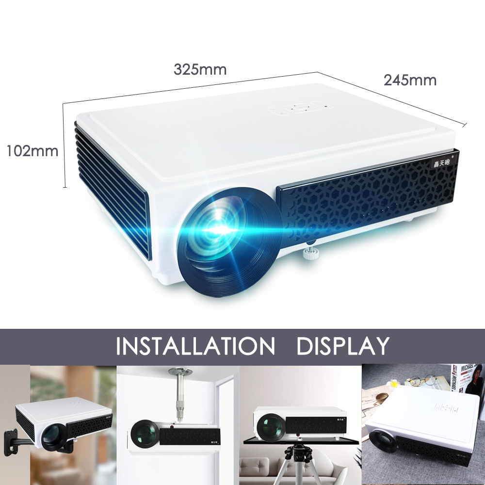 Poner Saund LED 96+ Projector 3D Home Theater Optional Android 6.0 WIFI 100inch screen GIFT Full HD 1080P HDMI Video Projector 1