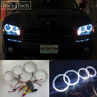 HochiTech Cree LED Chip Light Guide Angel Eyes Kit White Halo Ring daytime light with Dimmer Fuction for Dodge Charger 2005 2010