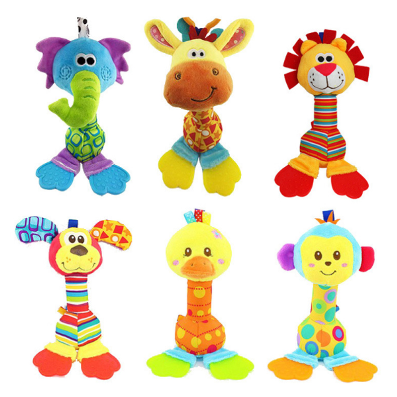 Happy Monkey New 1 Pcs Baby Toys Infant Animals Dolls With BB Sound Plush Toy For Baby Bed Hanging Bell Cartoon Animal Gift