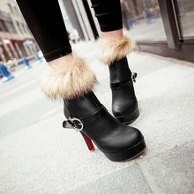 2014 New fashion Women's fur Lovely ankle boots red bottom women High heel snow boots winter Warm women Fur boots size 34-42