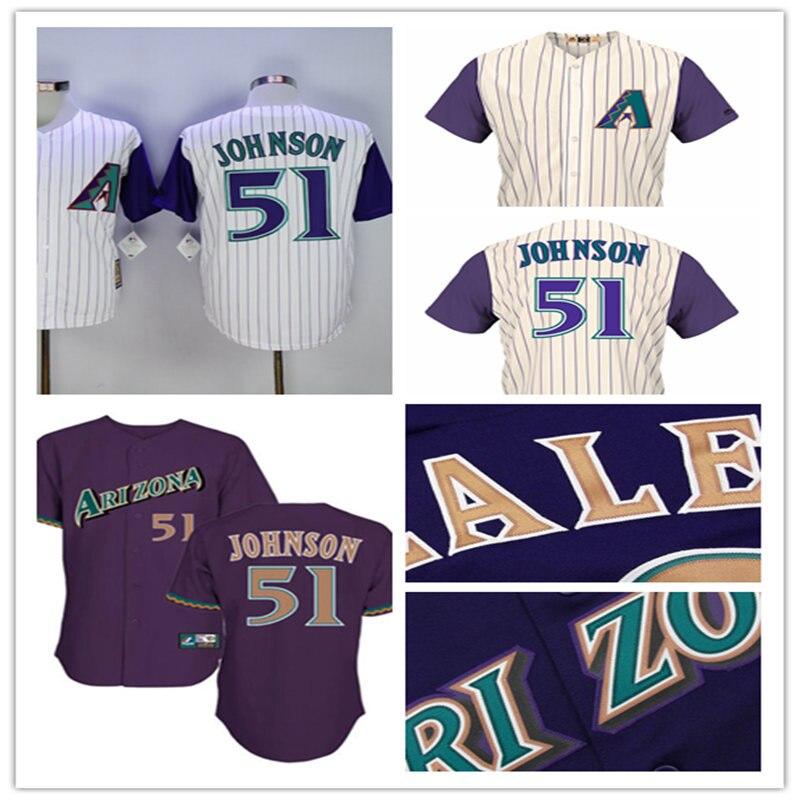 28fccd98132 ... Mens White Purple Stitched cheap Arizona Diamondbacks Cooperstown  Collection Throwback Jersey 51 Randy Johnson Baseball Jerseys ...