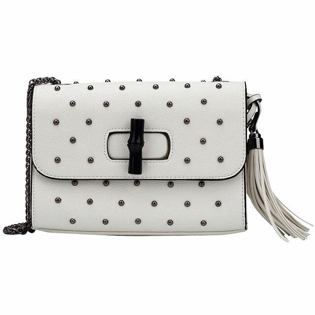 Fashion fringe заклепки белые сумки женщины дизайнер высокое кач ество PU кожи плеча сумки женские кисточкой кошельки сцепления сеть сумки сумки женские сумка женская через плечо сумка кожаная женская СУМКИ