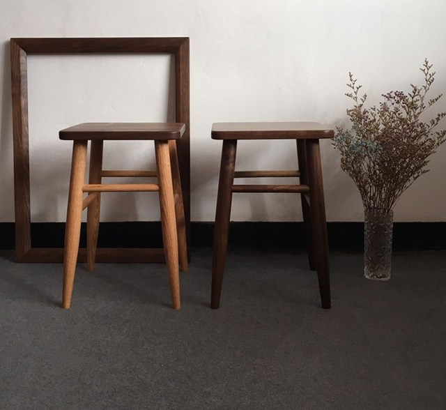 Modern Design Solid Walnut Wood Square Low Stool, Real Walnut Wooden Shoes  Changing Stool,