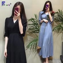 Temperament Vintage Dresses Women Slim Waist A Line gentle and soft Date Wear Koran Style Design White Black Dress Long 6026