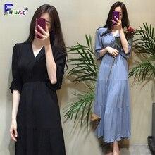 Vestidos Vintage de cintura delgada para mujer, ropa con fecha suave y suave, diseño de estilo coreano, vestido largo blanco y negro 6026