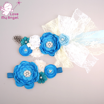 1set Baby girl flower sash blue white satin feather lace flower sash with headband for kids mom maternity baby shower sash