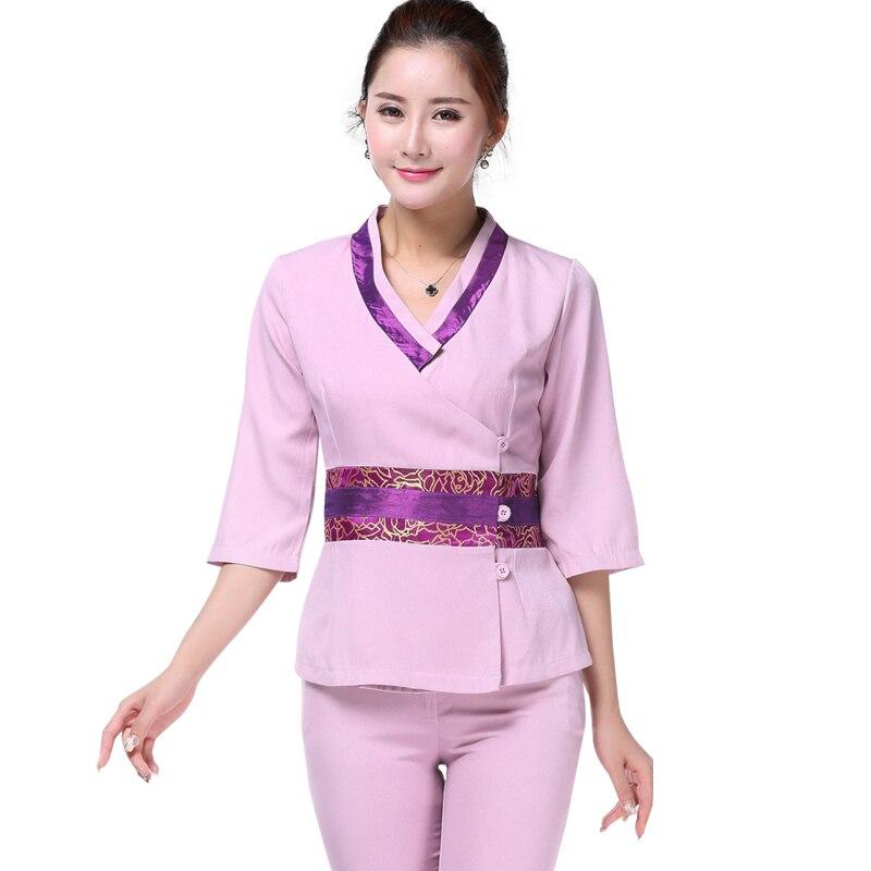 218a52fa9b4 Brand New Scrub Uniform Set Nurse Work Wear Uniform Cute Short Sleeve  Summer Salon Massage Beauty Uniform