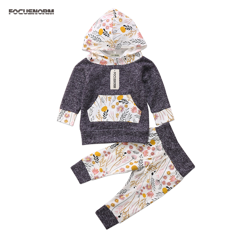 2017 Newborn Baby Boy Girl Clothes Floral Cotton Casual Hooded Tops+Long Pant Flower Outfit Set USA