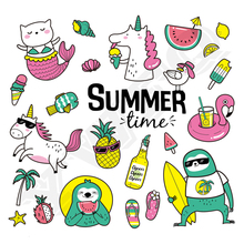 Set Of Cute And Fun Summer Sticker On Clothes Unicorn Pineapple Heat Transfer Badges New Design Washable Diy Accessory Applique