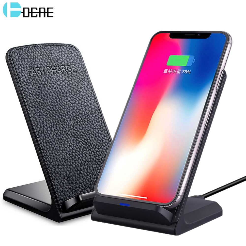 DCAE Qi Wireless Charger Pad For iPhone X 8 Plus 10W Fast Charging For Samsung Galaxy S9 S8 Plus S7 Edge USB Charger Leather Pad