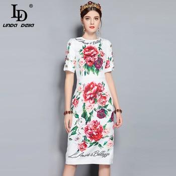f65fe8c6348 LD LINDA DELLA Runway Designer Summer Dress Women s Short Sleeve Crystal  Button Floral Printed Elegant White