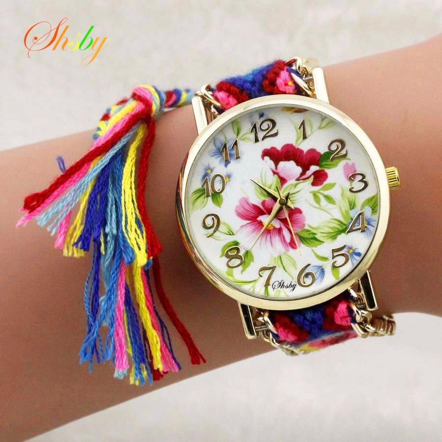 shsby Nové dámy květiny Tkané nylonové lano náramkové hodinky móda ženy šaty hodinky vysoce kvalitní křemenné hodinky sladké dívky hodinky