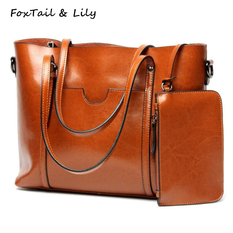 FoxTail & Lily Famous Designer Genuine Leather Tote Handbags Women Shoulder Bag Large Capacity Simple Practical Shopping Bags famous designer brand bags handbags women bags leather genuine large capacity sheepskin rivet hand bag shoulder tote female 2017