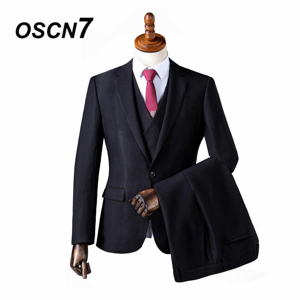 OSCN7 2019 カスタムメイドスーツ男性スリムフィットウェディングパーティーメンズオーダーメイドスーツファッション 3 ピース ZM-563 564 カスタムサプライヤー