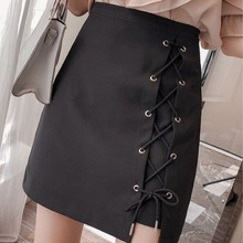 Korean Style Plus Size Spring Summer High Waist Women Skirt Fashionable Solid Color Black A Word Lack Up Decoration Ladies Skirt word up футболка