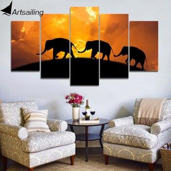 HD Печатный 5 шт холст искусства Закат слон картина в рамке Mudular пейзаж настенные картины Домашний Декор Бесплатная доставка CU-3283C