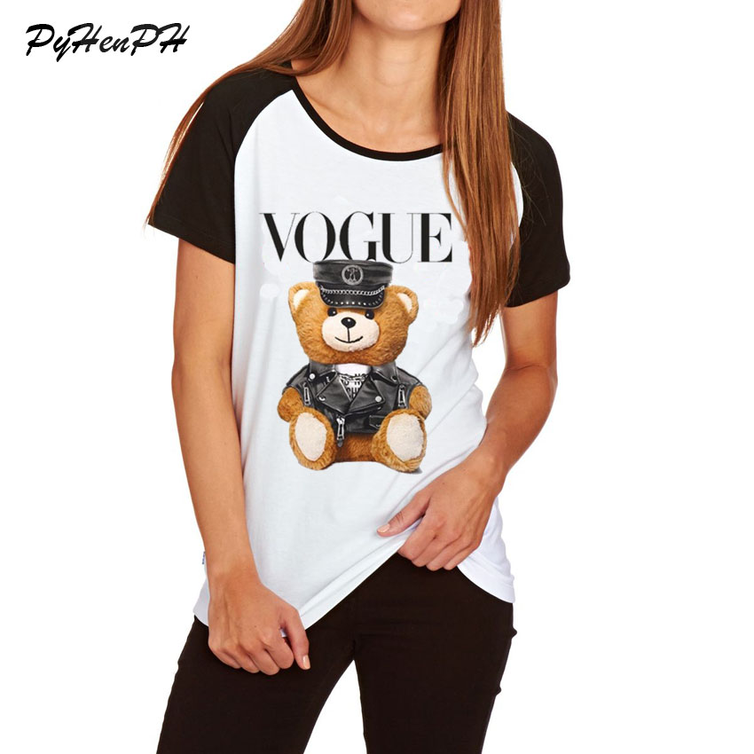 2018 Super Cute Vogue Police Bear Teddy T shirt Women Summer Fashion Plus Size Tee Shirt Homme Raglan Sleeve Cotton T shirt top-in T-Shirts from Women's Clothing on AliExpress - 11.11_Double 11_Singles' Day 1